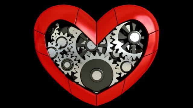 Gearing wheels in heart (HD, Loop/Cycle, Alpha) video