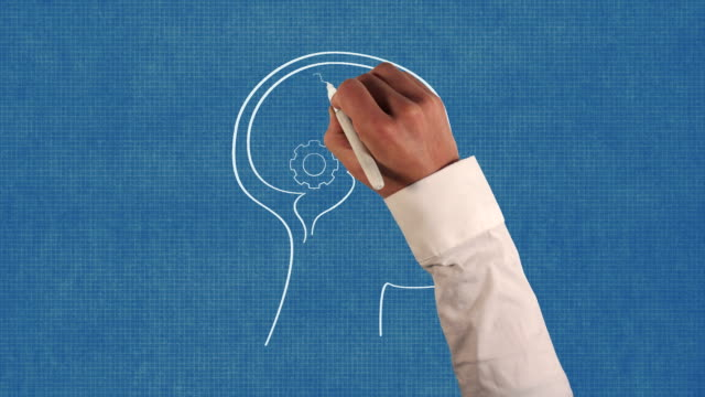 Gears in Human Brain on Blueprint Paper Animation