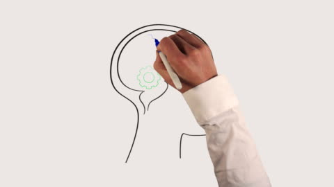 Gears in Human Brain Whiteboard Animation Hand drawing animated gears inside a side-profile of a human brain on whiteboard. concentration stock videos & royalty-free footage
