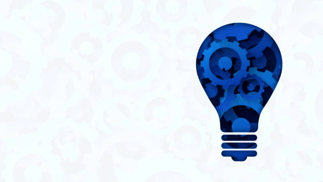 gears light bulb abstract blue background