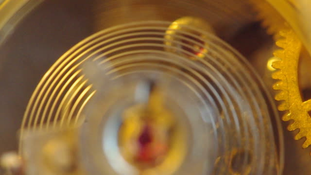 Gears of a chronograph. Clockwork extreme closeup. video