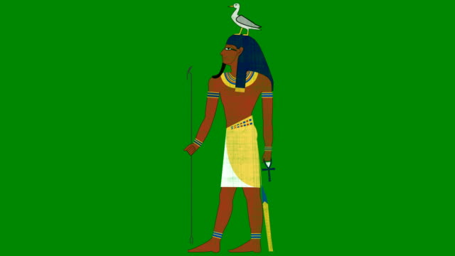 Geb Egyptian god of the Earth on a Green Screen Background video