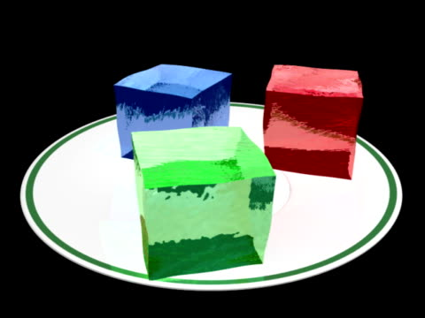 Gelatin Cubes Fall On Plate (NTSC and PAL) Animation of Gelatin Red, green and blue cubes fall and jiggle on a plate. Metaphor for RGB pixels or signals. Raytracing and fresnel shaders used. NTSC 30f and PAL 25f. jello stock videos & royalty-free footage