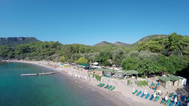 Gemile bay from Oludeniz - Aerial video Gemile Bay, Oludeniz, Fethiye /Turkey. aegean turkey stock videos & royalty-free footage