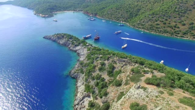 gemiler island aerial visa - egeiska havet bildbanksvideor och videomaterial från bakom kulisserna