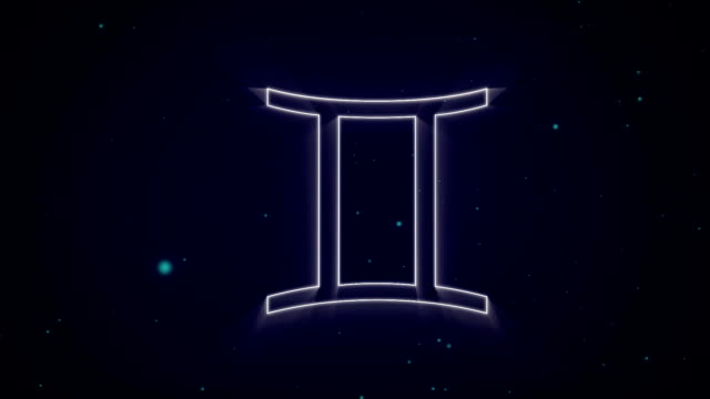 Gemini zodiac sign on purple