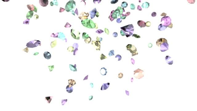 Gems diamonds gemstones ruby stones falling slow motion wedding background