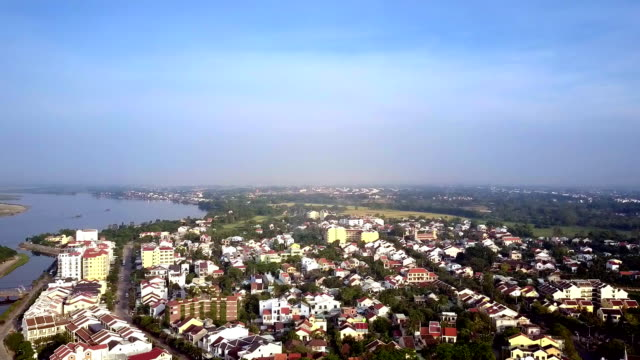 general Hoi An upper view against river boundless sky tremendous general Hoi An upper panorama against wide river and boundless blue sky general view stock videos & royalty-free footage