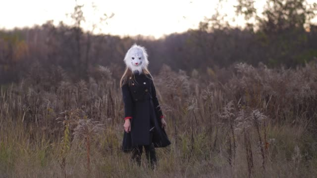 General plan. In the autumn field, a girl dancing in a bear mask. The woman is dressed in blue coats 4K Slow Mo General plan. In the autumn field, a girl dancing in a bear mask. The woman is dressed in blue coats mask disguise stock videos & royalty-free footage