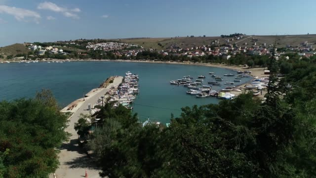 General view of 'Guneyli' holiday village in the Saros Bay,Canakkale Canakkale/Turkey 11/15/2018 General view of 'Guneyli' holiday village in the Saros Bay,Canakkale Canakkale/Turkey 11/15/2018 çanakkale province stock videos & royalty-free footage