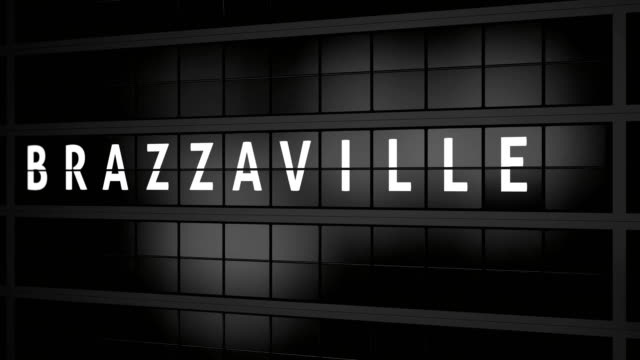 3D generated animation 4K, Analogue airport billboard with flight information, arrival city of Brazzaville video