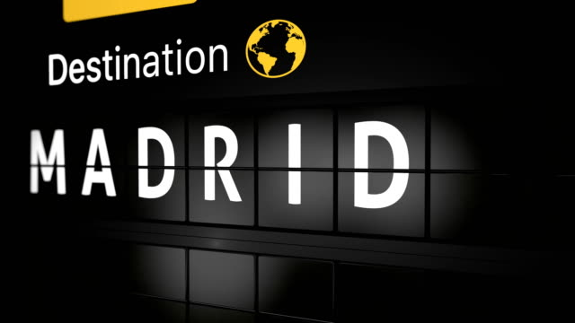 3D generated animation, analog flight information display board with the arrival city of Madrid