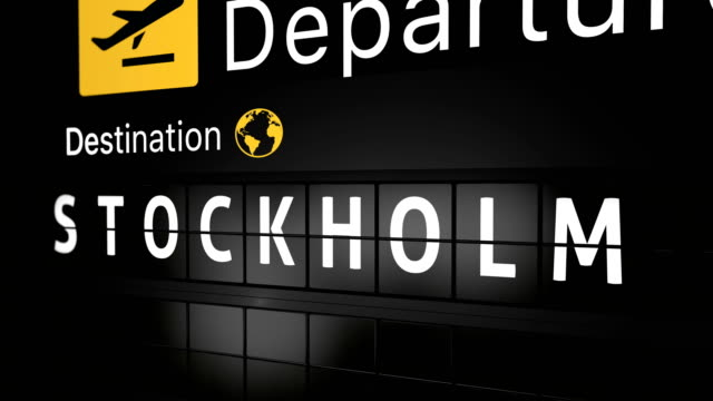3D generated animation, analog flight information display board with the arrival city of Stockholm