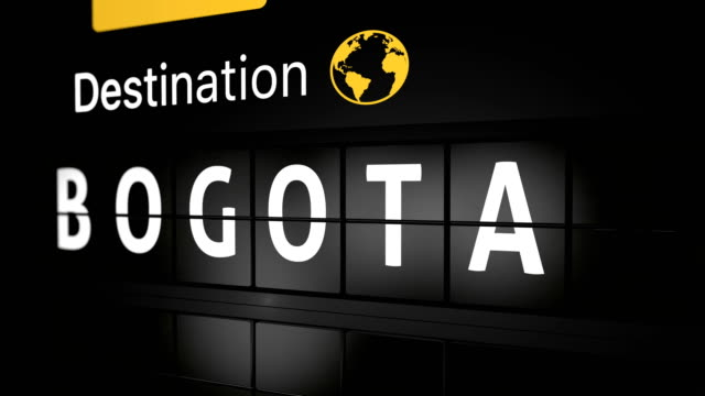 3D generated animation, analog flight information display board with the arrival city of Bogota