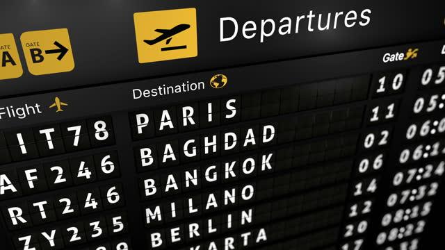 animazione generata in 3d, tabellone analogico delle informazioni di volo con la città di arrivo di dakar - dakar video stock e b–roll