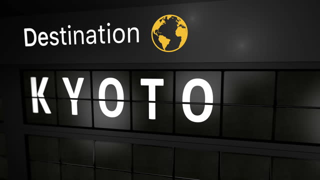 3D generated animation, analog flight information display board with the arrival city of Kyoto, Japan