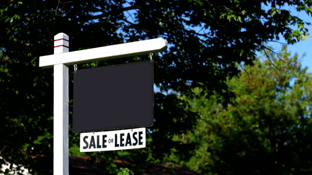 Generic Blank Real Estate sign in yard with green trees in background video