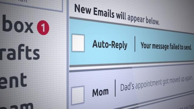 generische e-mail neue posteingang - fehler beim auto-antwort-nachricht senden - e mail stock-videos und b-roll-filmmaterial