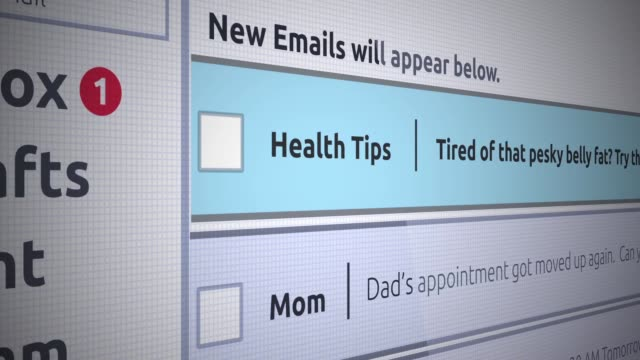 Generic Email New Inbox Message - Health Tips - Belly Fat Generic Email New Inbox Message - Health Tips - Belly Fat nutritionist stock videos & royalty-free footage