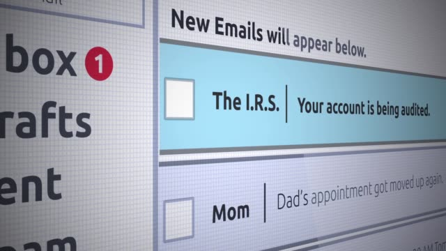 generische e-mail neue posteingang - irs überwachung eines bankkontos - e mail stock-videos und b-roll-filmmaterial