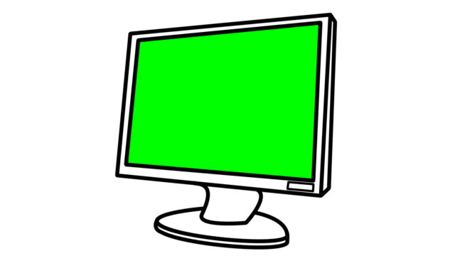 Generic flat screen monitor draws out and colour fills video