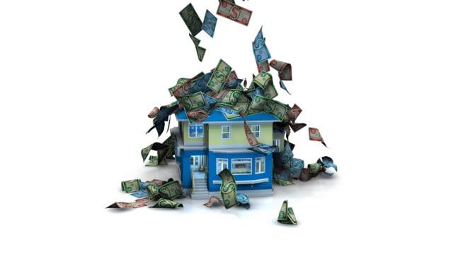 Allgemeiner Geld fallen auf einer House – Video