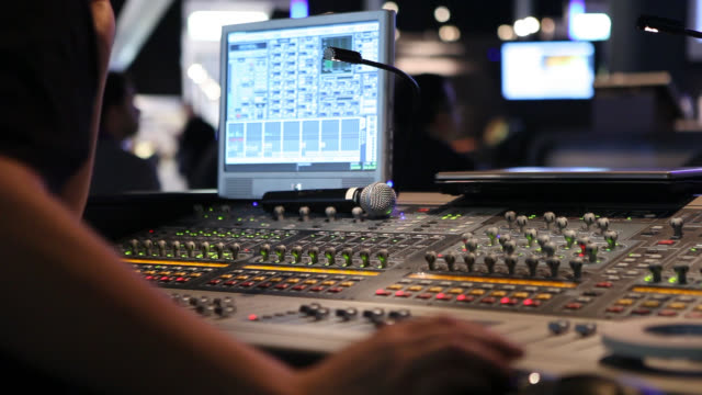Generic visual and audio mixers for montage and production close ups on studio mixers used for media and events directing and recording studios performing arts event stock videos & royalty-free footage