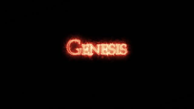 genesis written with fire. loop - ветхий завет стоковые видео и кадры b-roll