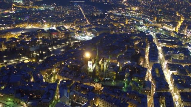 Genfer Innenstadt Luftaufnahme in der Nacht – Video