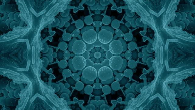 stockvideo's en b-roll-footage met zachte naadloze blauwe fractal achtergrond van de caleidoscoop van bacteriën - mandala