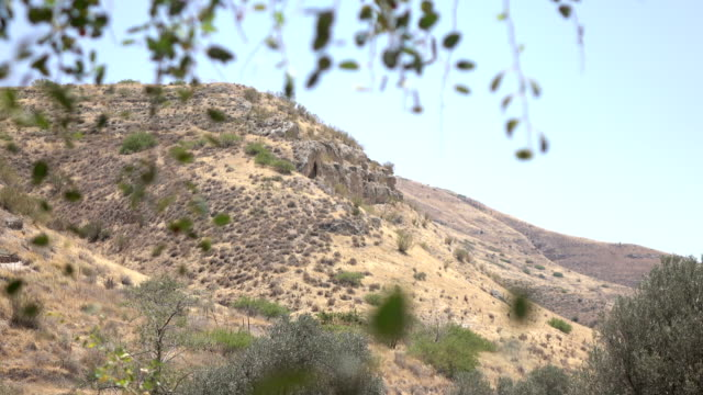 Gentle Slopes of Hill in Dry Countryside in Israel video
