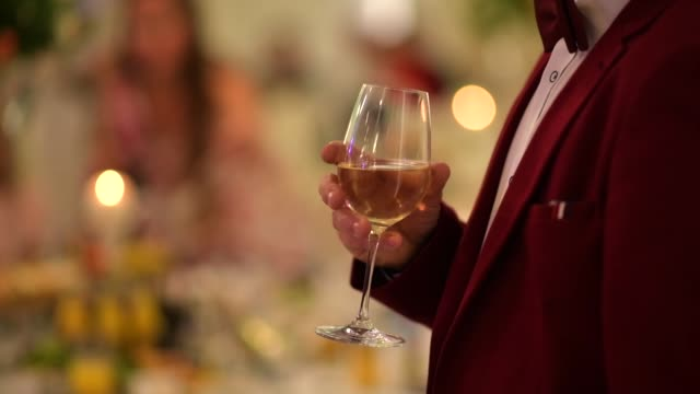 gentleman in burgundy tuxedo with glass of white wine in hand. party theme. - abbigliamento formale video stock e b–roll