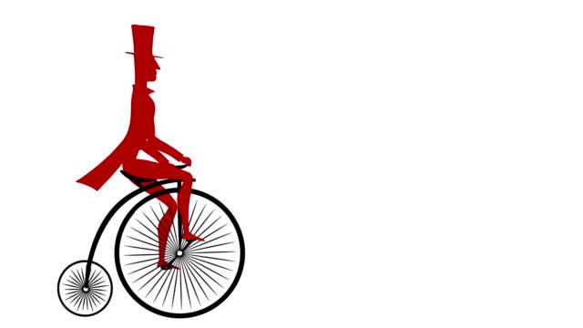 gentleman rides a vintage bicycle - stile del xix secolo video stock e b–roll