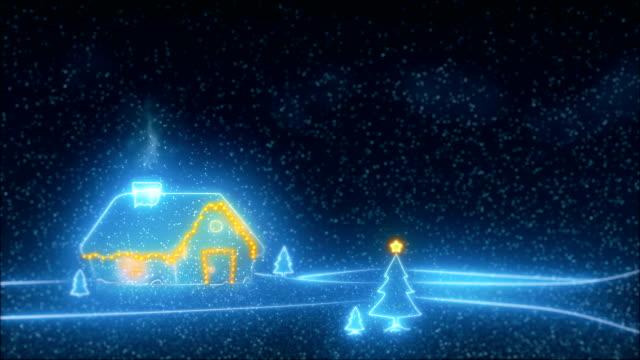 sanft fallender schnee mit weihnachtsbaum-video - weihnachtskarte stock-videos und b-roll-filmmaterial