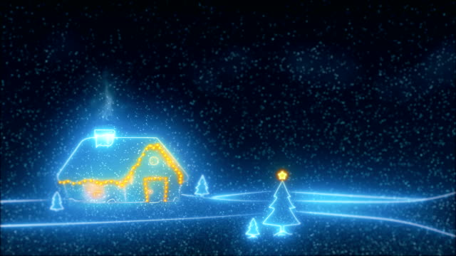 vídeos de stock e filmes b-roll de gently falling snow with christmas tree video - christmas card