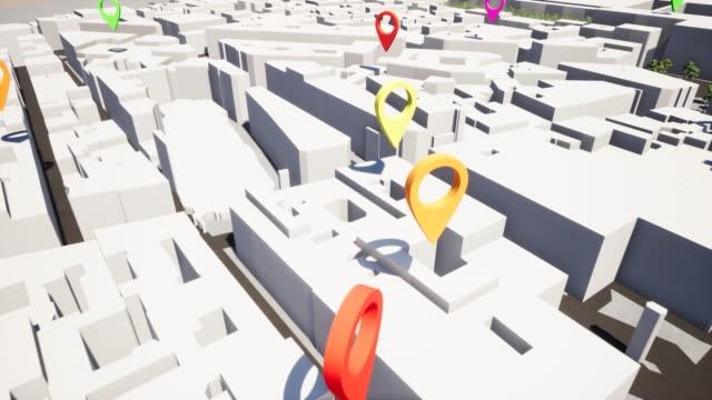 vidéos et rushes de géolocaliser la carte de navigation pin spot find zone 4k - épingle