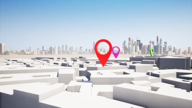 vídeos de stock, filmes e b-roll de geolocate mapa de navegação pin spot find area 4k - exatidão