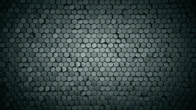 Geometric background with grey hexagons loopable 3D render