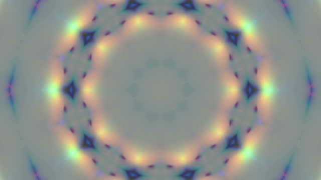 vídeos de stock, filmes e b-roll de ornamento geométrico, papel de parede ao vivo, fundo caleidoscópico em câmera lenta - mandala