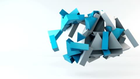 vídeos de stock e filmes b-roll de geometric shape triangle motion background - forma