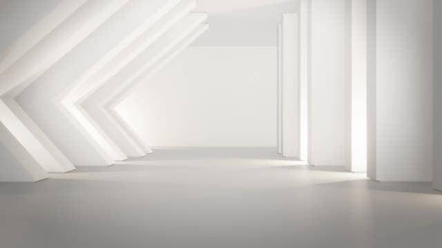 Geometric shapes structure on empty concrete floor with white wall in big hall or modern showroom.