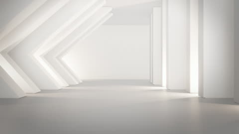 vídeos de stock e filmes b-roll de geometric shapes structure on empty concrete floor with white wall in big hall or modern showroom. - branco