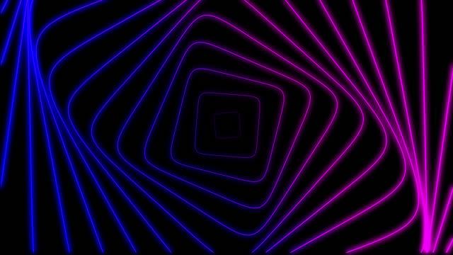 geometrisk kvadratisk form. animering rörelse av neon kvadrat med förskjutning effekt på en svart bakgrund. radiovågseffekt. loop animation med hypnotisk effekt. retro stil. abstrakt bakgrund - loopad bild bildbanksvideor och videomaterial från bakom kulisserna