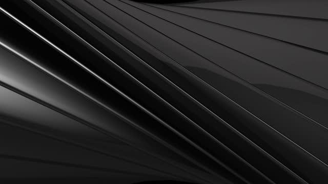 vídeos de stock, filmes e b-roll de tecnologia geométrica preto brilhante e prata listras metálicas abstratas movimento de fundo vídeo de fundo turquia, resolução 4k, resumo, animação - imagem em movimento, arte - padrão repetido
