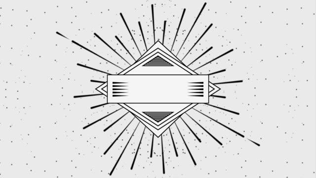 vídeos de stock e filmes b-roll de geometric vintage frame label - badge