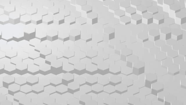 Geometric White Hexagon Slow Up Down Moving Simple Loop Animation.