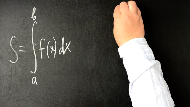 Geometrical entity of integral.We write with chalk on a board. video