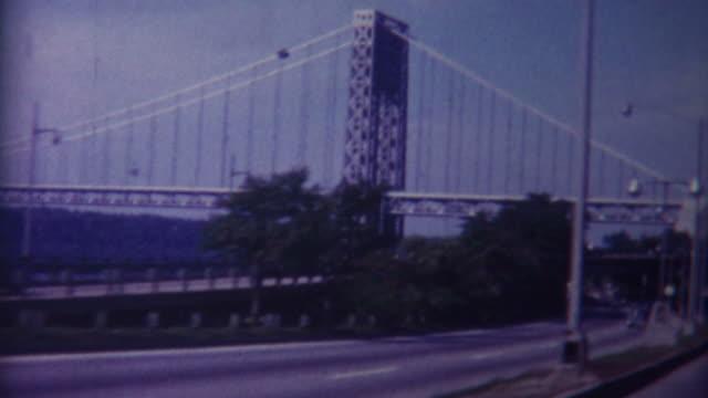 george washington bridge 1959 - vintage architecture stock videos & royalty-free footage