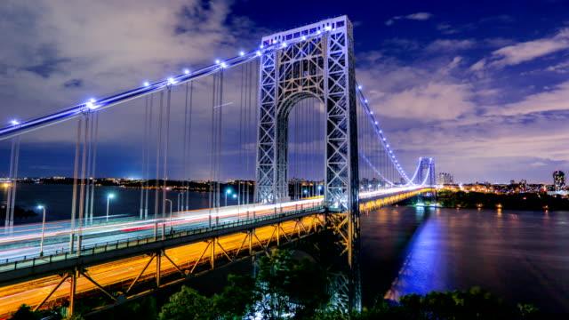 vídeos de stock e filmes b-roll de george washington bridge, nyc - ponte