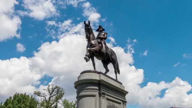 George Washington statue Boston George Washington statue as the famous landmark in Boston Common Park statue stock videos & royalty-free footage